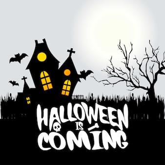 Halloween nadchodzi typografia z kreatywnym projektem
