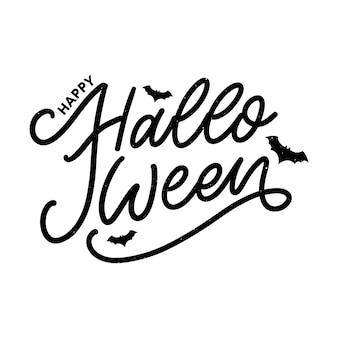 Halloween napis z życzeniami tekst kaligrafii pędzel czarny