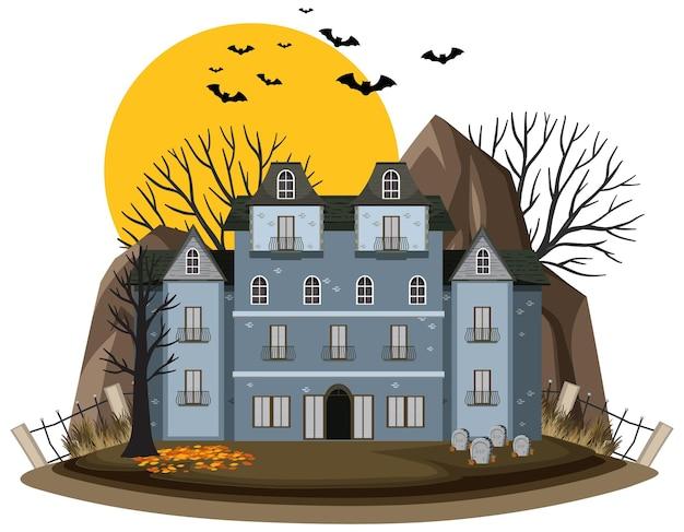Halloween nawiedzony dom na białym tle
