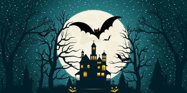 Halloween nawiedzony dom tło z gradientowym światłem