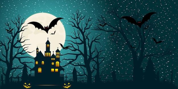 Halloween nawiedzony dom w tle z gradientowym światłem