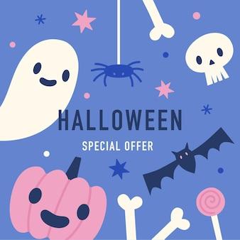 Halloween oferta specjalna ładny ręcznie rysowane obiekty ilustracji wektorowych