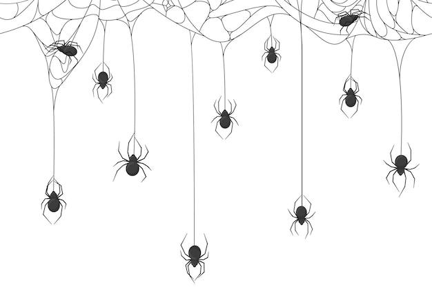 Halloween Pająki W Tle Premium Wektorów