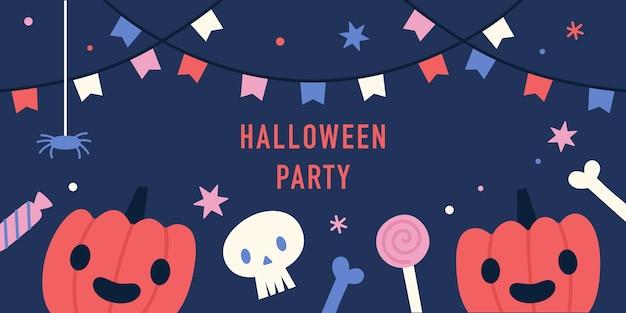 Halloween party banner śmieszne dynie i słodycze ilustracji wektorowych