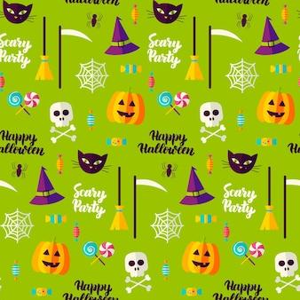 Halloween party bezszwowe wzór. ilustracja wektorowa tło wakacje. cukierek albo psikus.