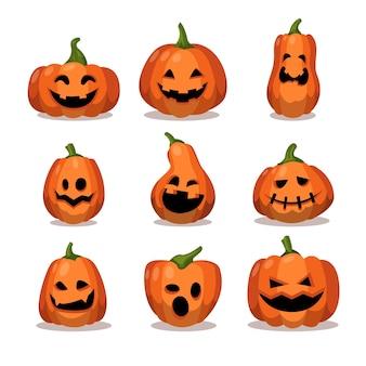 Halloween party dynia kreskówka naklejki zestaw straszny jack o lantern projekt kolekcji wektor