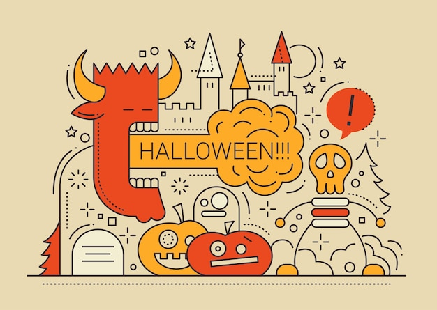 Halloween party kolorowa linia płaska konstrukcja karty z symbolami wakacji