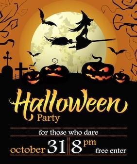 Halloween party napis z datą, czarownica, dynie i księżyc