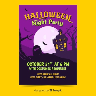 Halloween party plakat szablon płaska konstrukcja