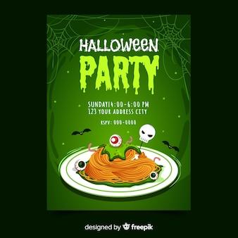 Halloween party plakat szablon ręcznie rysowane projekt