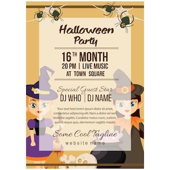 Halloween party plakat szablon z para czarodziej