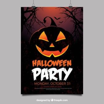 Halloween party plakat z creepy dyni