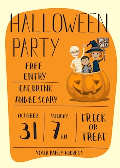 Halloween party plakat z dziećmi