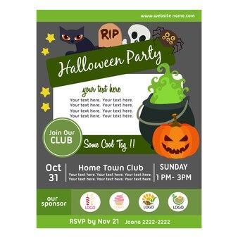 Halloween party plakat z garnek czarownicy magii płaski