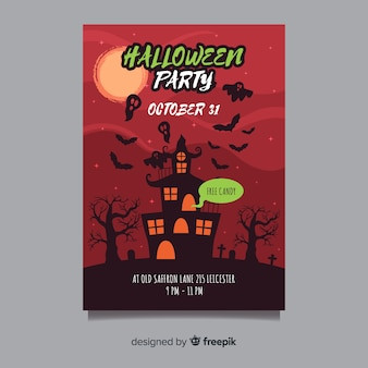 Halloween party plakat z nawiedzonym domem