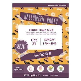 Halloween party plakat z szkieletu wzór