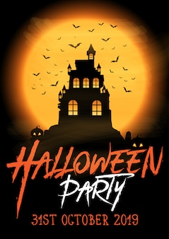 Halloween party plakat z upiornym zamkiem