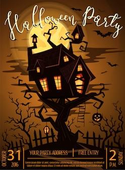 Halloween party plakat z upiornym zamkiem