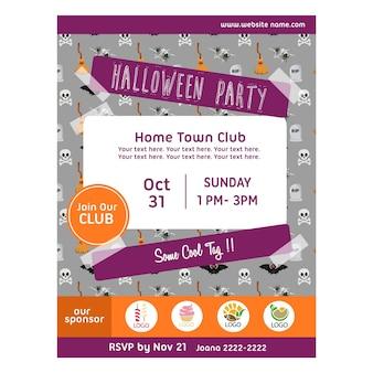 Halloween party plakat z wzór czaszki