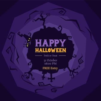 Halloween party powitanie sylwetka koło