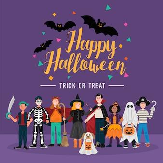 Halloween party tło, dzieci w kostiumach na halloween.