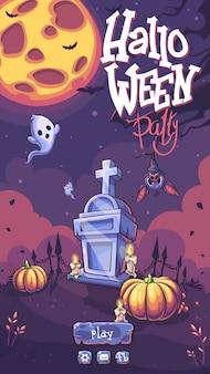 Halloween party wektor pole gry z dyni, nagrobek, duch, księżyc, świeca, nietoperz, drzewo
