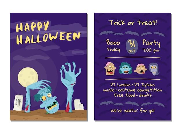 Halloween party zaproszenie karty z nieumarłym mężczyzną