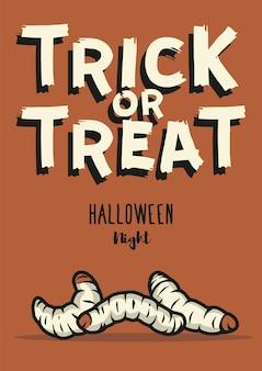 Halloween paskudny robak lub żarcie na plakat na halloween obrzydliwa gąsienica lub robak