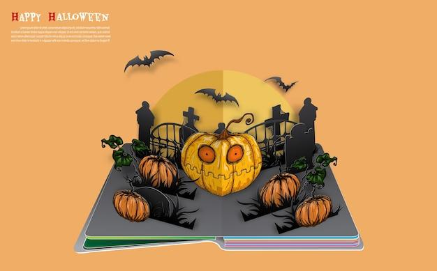 Halloween pojawiają się książki od wektora.