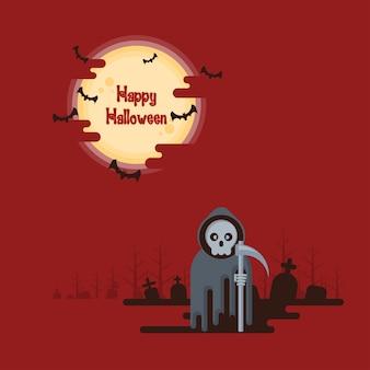 Halloween, ponurej żniwiarki pozycja z kosą przy nocą w cmentarzu pod rozjarzonym pełnym muczeniem