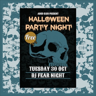 Halloween przyjęcia nocy pionowo tło z czaszką
