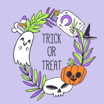 Halloween rama ręcznie rysowane projekt
