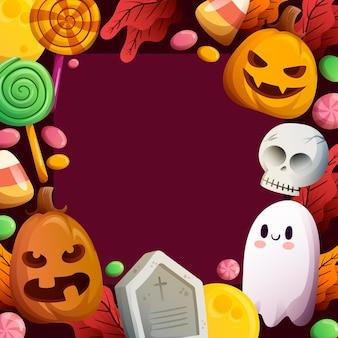 Halloween rama ręcznie rysowane szablon z dyni