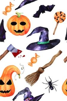 Halloween ręcznie rysowane wzór akwarela