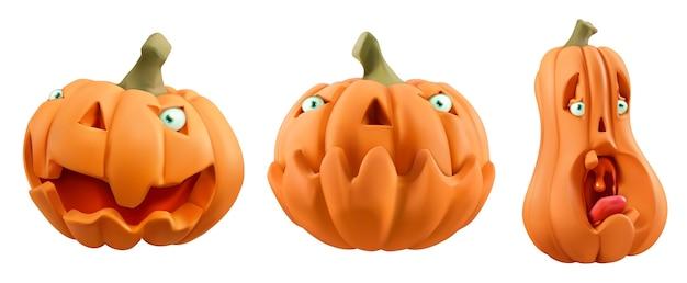Halloween. rzeźbione postaci z kreskówek dyni.