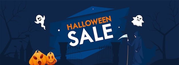 Halloween sale header or banner with jack-o-lanterns, cartoon ghosts and grim reaper on blue background.