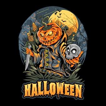 Halloween scarecrow, głowa czaszki i sztuka dyni