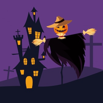 Halloween scarecrown i zamek