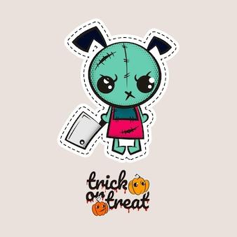Halloween ścieg zombie szczeniak lalka voodoo zły pies szyjący potwór cukierek albo psikus dynie