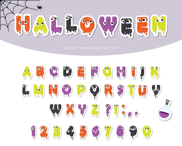 Halloween śluzowata czcionka dla dzieci