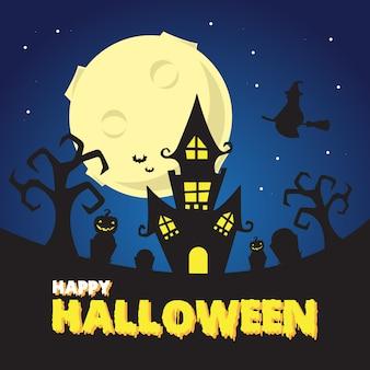 Halloween Spooky Night At The Witch Castle Ilustracja Premium Wektorów