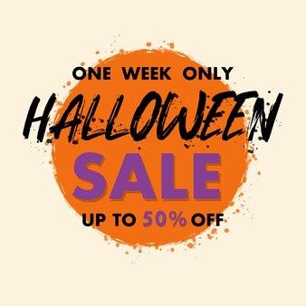 Halloween sprzedaż transparent świąteczny rabat tekst wektor grunge pędzla oferta specjalna cena znak discoun