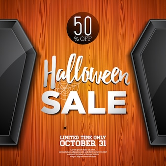 Halloween sprzedaży ilustracji wektorowych z trumny i holiday elementów na tle tekstury drewna. projekt na zamówienie, kupon, baner, voucher lub plakat reklamowy