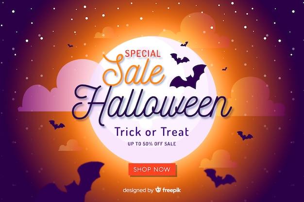 Halloween sprzedaży tło w stylu płaski
