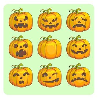 Halloween straszne dynie zestaw różnych znaków. ilustracja wektorowa.