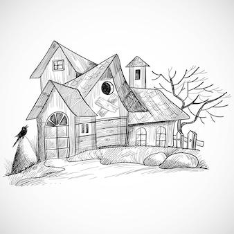 Halloween straszny dom wiejski ręcznie rysować projekt szkicu
