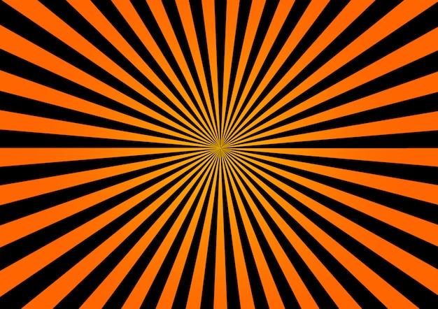 Halloween sunburst tło z pomarańczowymi i czarnymi promieniami