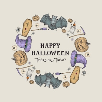 Halloween szkic wieniec, baner lub szablon karty. reklama wakacje ilustracja z typografią retro i jasnymi kolorami. ręcznie rysowane dynia, nietoperz, trumna, kapelusz, kosa i świeca.