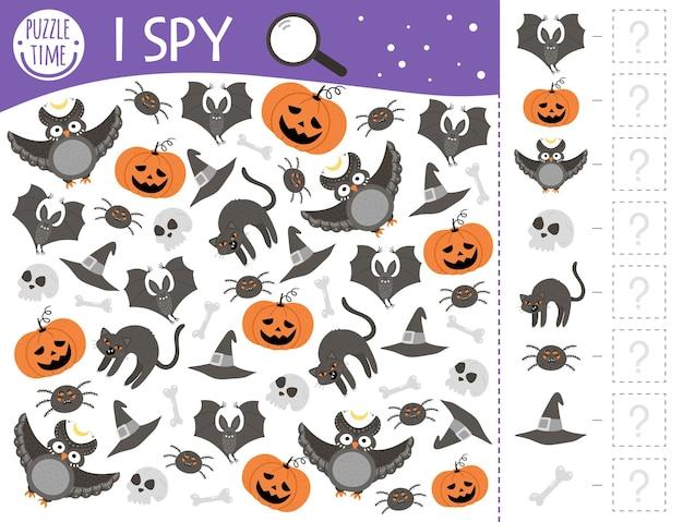Halloween szpieguję grę dla dzieci. aktywność polegająca na wyszukiwaniu i liczeniu dla dzieci w wieku przedszkolnym z tradycyjnymi przerażającymi przedmiotami. zabawny arkusz do druku jesień dla dzieci. prosta łamigłówka.