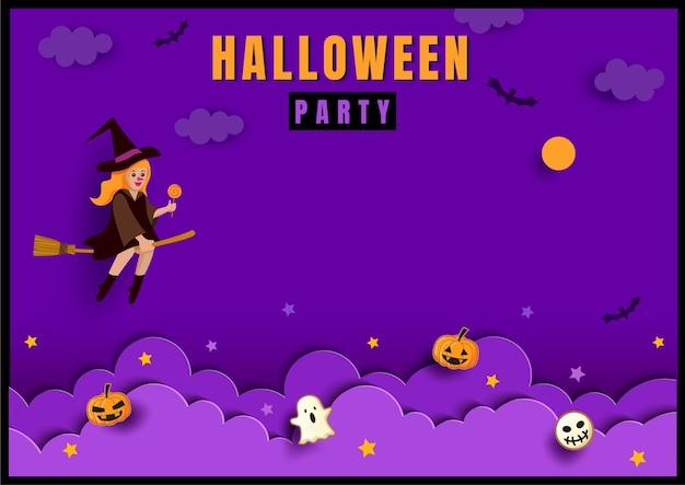 Halloween tło z czarownicą na fioletowym tle